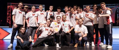 Maryville's Esports Teams posing with HUE Invitational Trophy